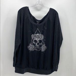 Torrid sheer front skull shirt